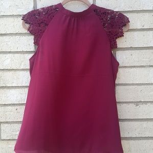 Express Maroon Blouse with Lace Slv & Cut Out Back